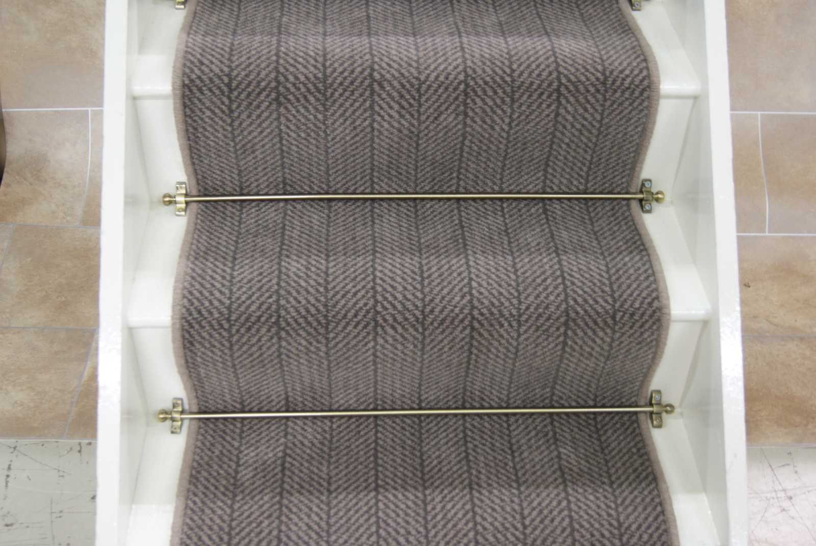 Herrinbone 80 20 Wool Stair Runner 063x7m Stone Beige